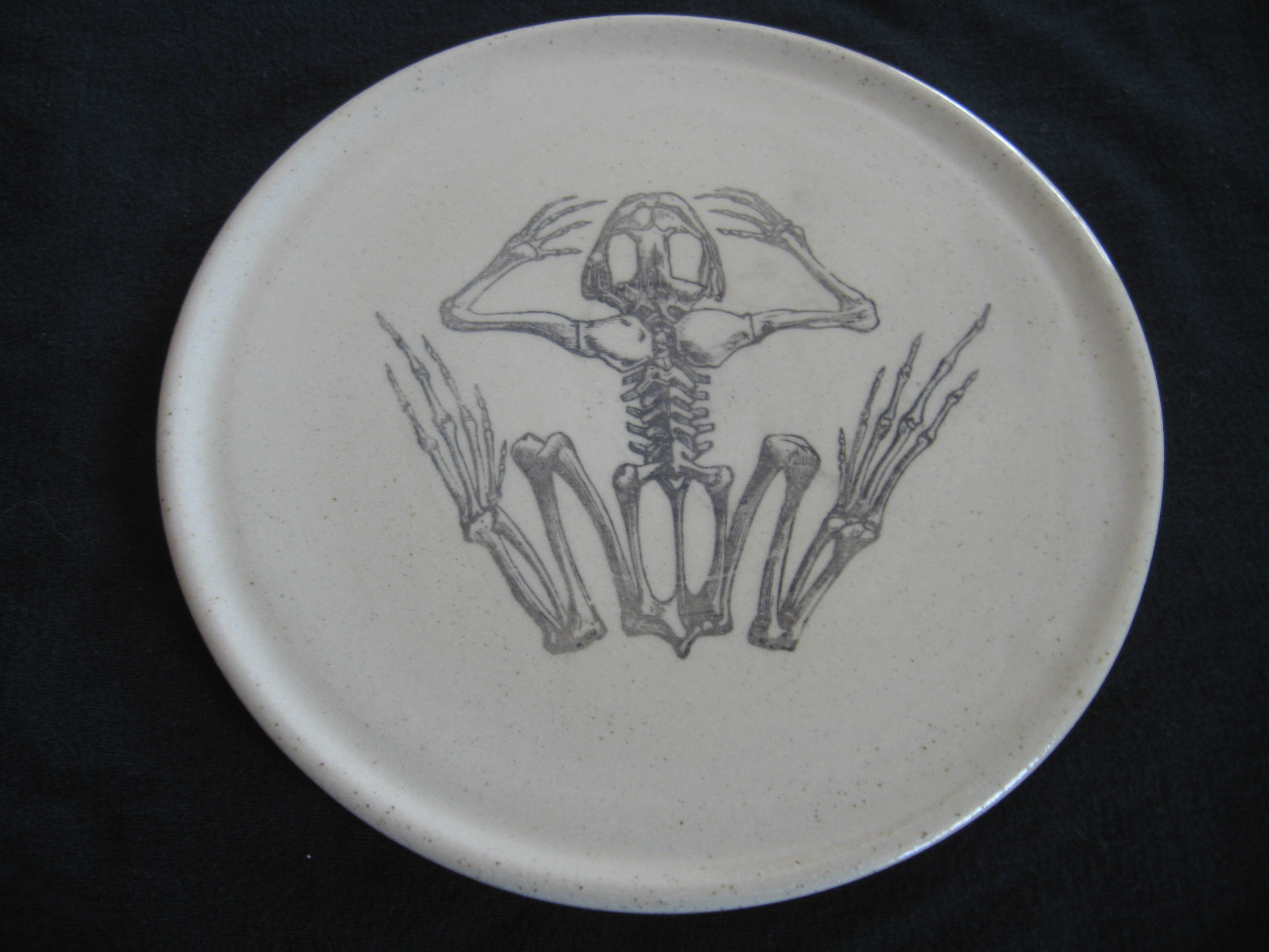 Frog Skeleton Plate Pirate Rose Pottery